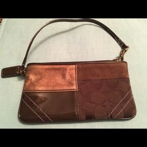 Coach Bags - Coach Brown Patchwork Wristlet Phone Holder